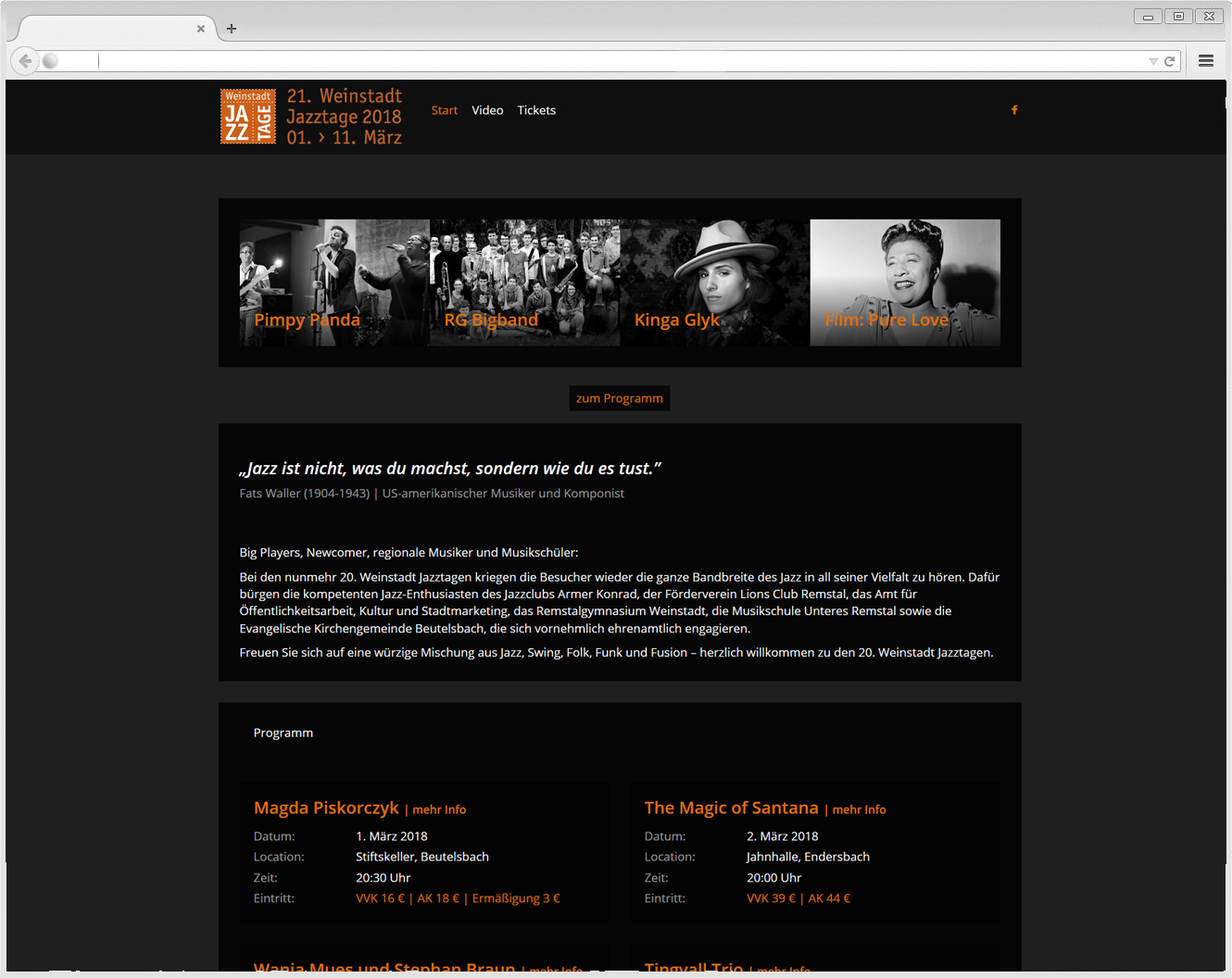 Website Weinstadt Jazztage
